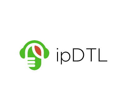Microphone and Headphones motif with ipDTL text on white background